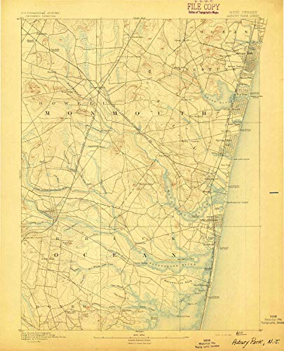 YellowMaps Asbury Park NJ topo map, 1:62500 Scale, 15 X 15 Minute, Historical, 1893, 19.8 x 16 in - Paper -