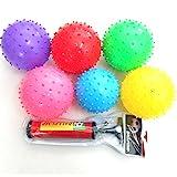 10x Igelball Stachelball Noppenball Massageball 6 Farben inkl. Ballpumpe, Durchmesser ca. 9-11 cm