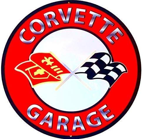Classic Corvette Garage Aluminum Sign Decor - 24 Inches in Diameter - Vintage Red Logo [並行輸入品]