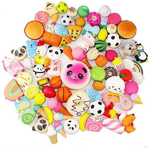Aqueens 30 pcs Kawaii Squishies Sets Slow Rising (1pc Jumbo + 29pcs Medium/Mini Size) Random Cake Bread Panda Bun Cartoon Series with Phone Straps Squishy Kids Play Toys Charms