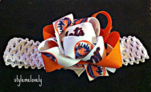 Mets Baby Girl Boutique Bow Crocheted - New Mets Headband York
