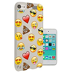 C0933 - Smiley Emoji Funny Heart Love Sunglasses Shit Poop Laughter Icon App Design Apple ipod Touch 5 Fashion Trend CASE Gel Rubber Silicone All Edges Protection Case Cover