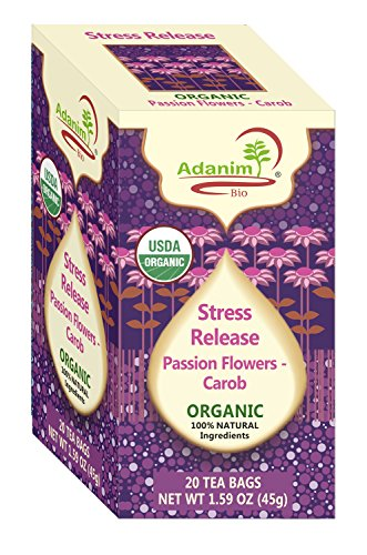 Adanim Bio Passion Flower Tea and Carob Tea, Stress Release Anxiety Blend, Caffeine Free Herbal Tea, All-Natural, Kosher and USDA Certified, 20 Count, 4 Pack, 80 Individually Enveloped Hot Tea Bags (Passion Tea Flower Herb)