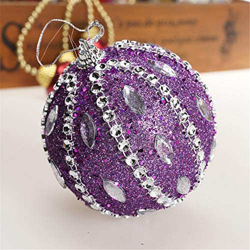 Christmas Tree Decoration Christmas Ball Ornaments Decoration Tree Balls for Holiday Wedding Party Decoration (8cm in Diameter) (Purple) by TLT Retail (Image #3)