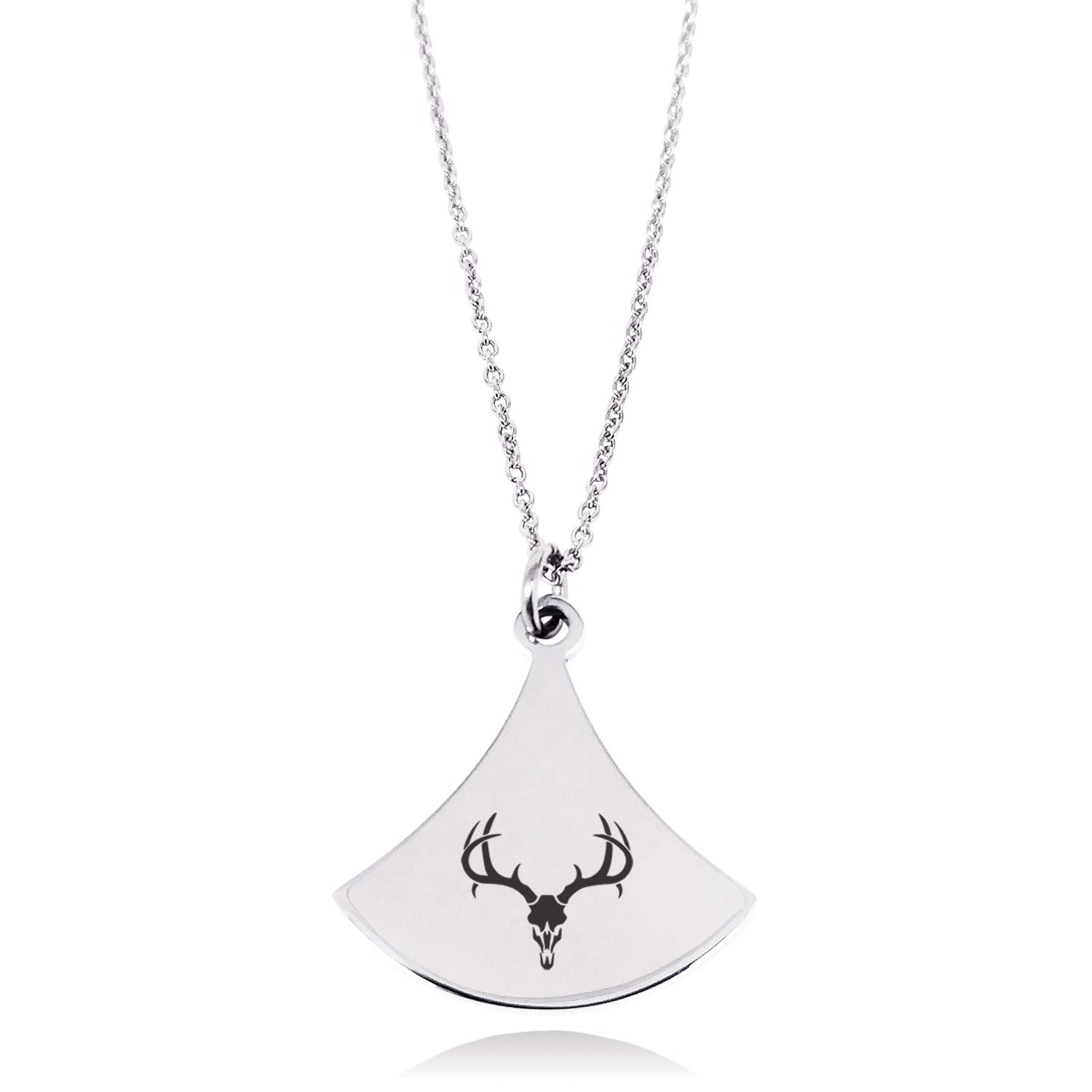 Stainless Steel Colossal Antlers Pendulum Curved Triangle Charm Pendant Necklace