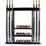 Iszy Billiards 6 Pool Cue-Billiard Stick Wall Rack Made of Wood, Black Finish
