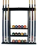 Iszy 6 Pool Cue-Billiard Stick Wall Rack Made of Wood Black Finish