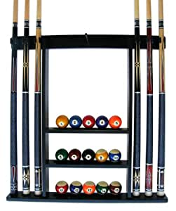 Iszy 6 Pool Cue-Billiard Stick Wall Rack Made of Wood Black Finish