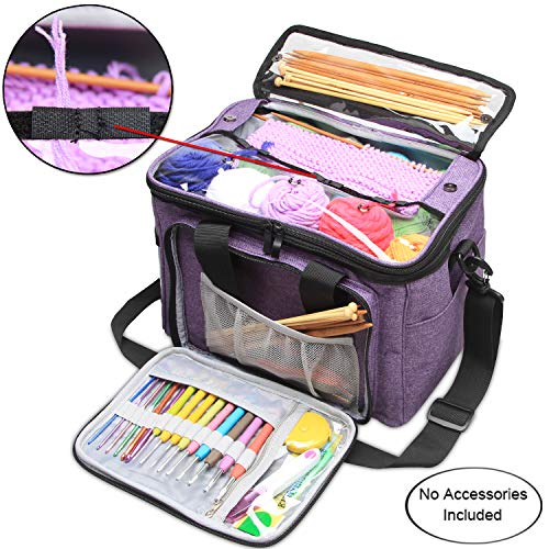 Teamoy Knitting Bag, Yarn Storage Tote with Inner Divider for Yarn and Unfinished Project, High Capacity, Easy to Carry Crochet Hooks, Knitting Needles and Accessories-No Accessories Included