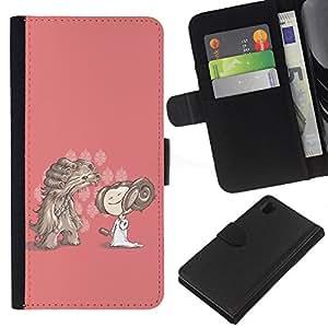 All Phone Most Case / Oferta Especial Cáscara Funda de cuero Monedero Cubierta de proteccion Caso / Wallet Case for Sony Xperia Z1 L39 // Cartoon Character Drawing Pink Dog Girl