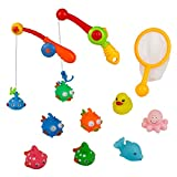 Bath Fishing Games Toys, Colorful Floating with Net and Rod in Bathtub Water Pool Bubble Shower Kit for Children Kids Toddlers Infants Girls Boys - 12 packs, Rubber Sea Animal Duck Whale Octopus Spot