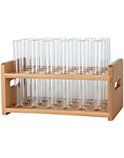 """Lily's Home Bamboo Test Tube Vial Shot Glasses Holder Rack, Great as Pen Stand, Made from Bamboo with Built-in Handle, Rack Only, Glass Tubes NOT Included, 24 Tube Capacity (7/8"""" (22mm') Holes)"""