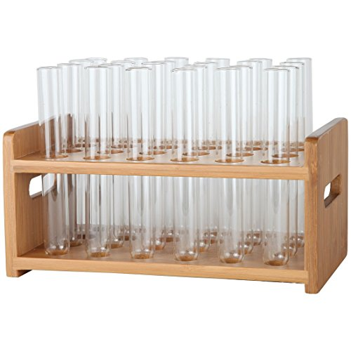 Lily's Home Bamboo Test Tube Vial Shot Glasses Holder Rack, Great as Pen Stand, Made from Bamboo with Built-in Handle, Rack Only, Glass Tubes NOT Included, 24 Tube Capacity (7/8