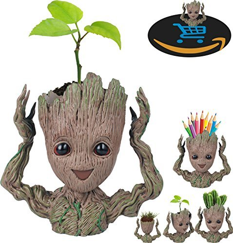 (Prime Sale Day Deals Week Amazon 2018-Creative Groot Planter Pot Guardians of The Galaxy Flowerpot Baby Groot Action Figures Cute Model Toy Pen Pot Pencil Holder Best Gifts For Kids)