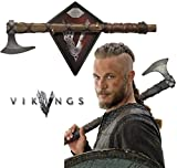 Collectible Vikings Battle Axe of Ragnar Lothbrok – TV Series – Limited Edition w/ Certificate of Authenticity, Leather wrapped handle & Color box sleeve
