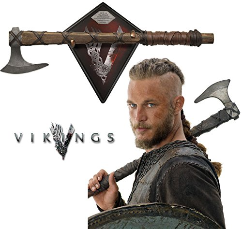 - Collectible Vikings Battle Axe of Ragnar Lothbrok - TV Series - Limited Edition w/ Certificate of Authenticity, Leather wrapped handle & Color box sleeve