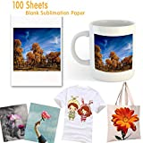 "Sublimation Paper 100 Sheets Sublimation Ink Transfer Paper 8.27"" x 11.7"" for Heat Transfer Mug,T-shirt, Light Fabric DIY"