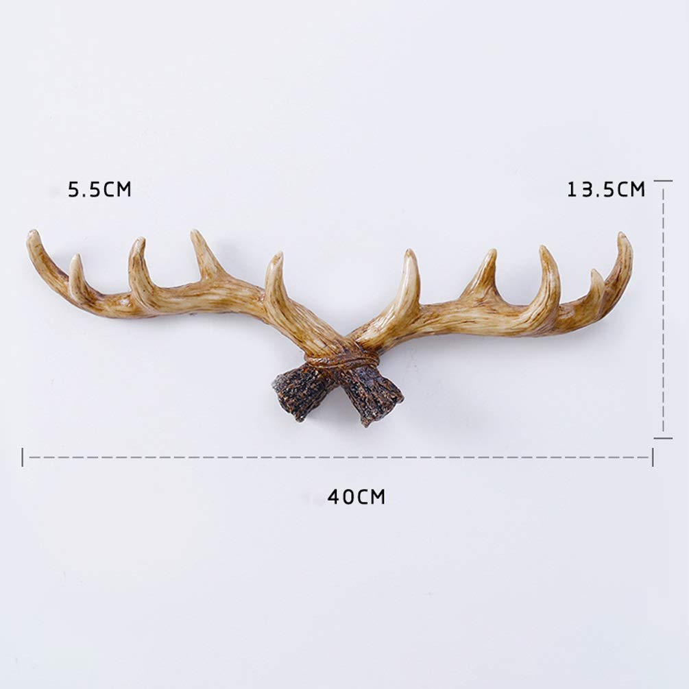 XYQS American Country Wooden Antler Shape Wall Hanging Retro Creative Wall Decoration Living Room Porch Clothing Shop Cafe Wall Mural (Color : Light Color)