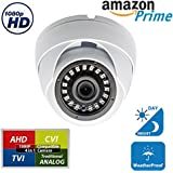 EVERTECH UPGRADED HD 1080p 4-in-1 TVI/AHD/CVI/Analog (960H/CVBS) Day Night Vision Outdoor Indoor Weatherproof Wide Angle CCTV Security Surveillance Camera (White Metal Casing)