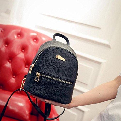 Tongshi Nuevo recorrido del morral del bolso de escuela de la mochila de la mujer (Rosado) Negro