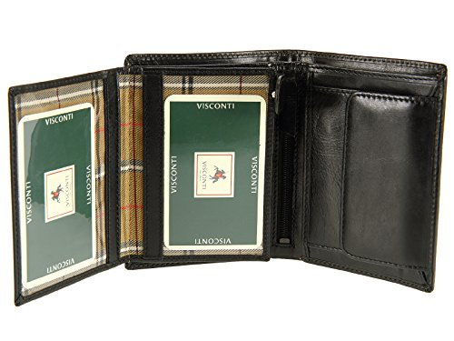 Visconti Leather Cards Banknotes Credit Black Top Coins Italian MZ3 Mens For Grade Wallet amp; wrnawIU1qx