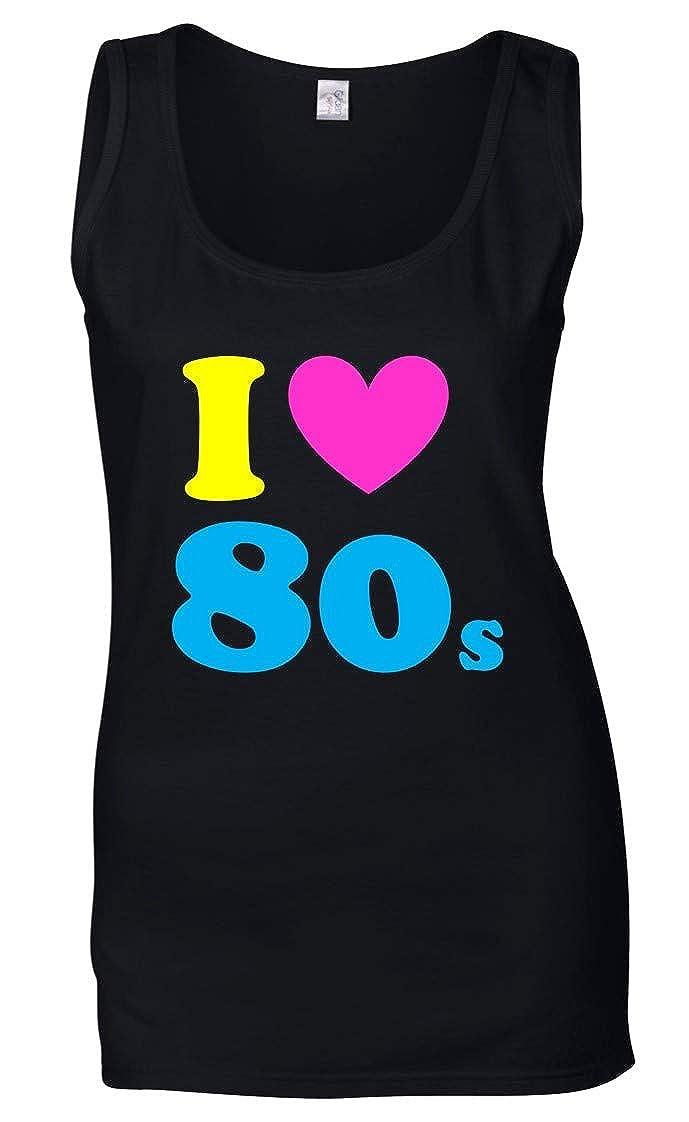 Black I LOVE THE 80s Ladies Vest
