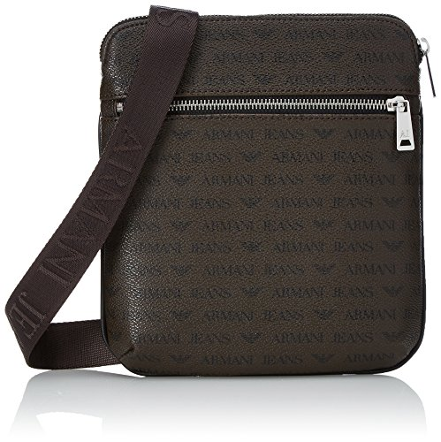 Armani Exchange Men's All Over Logo Pu Small Crossbody Bag, Brown