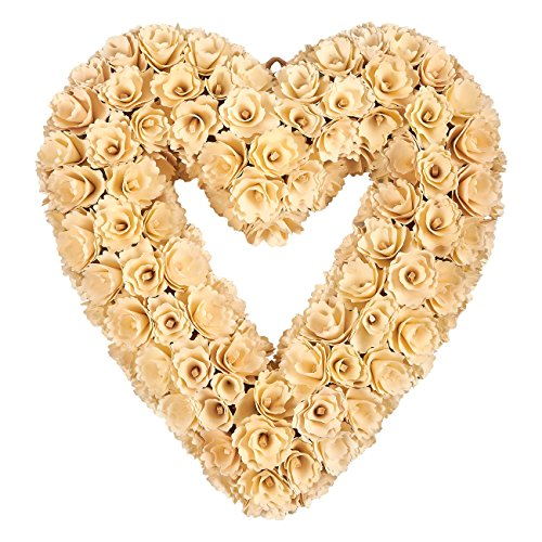 Indoor Outdoor Artificial Wreath Decoration - Romantic, Heart-Shaped Wooden Wedding Wreath, Hanging Wreath for Interior, Exterior Event Decor, White - 15 x 3 x 16 Inches Heart Shaped Wreath