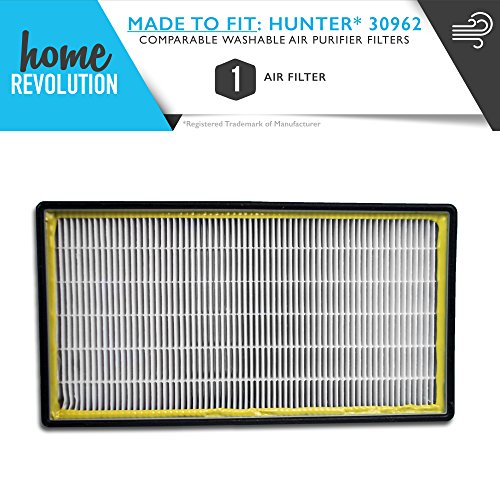 Hunter Part # 30962 for 30730, 30713 & 30730, Comparable Washable Air Purifier Filters. A Home Revolution Brand Quality Aftermarket Replacement