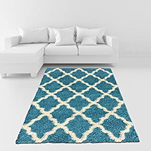 Soft Shag Area Rug 7x10 Moroccan Trellis Turquoise Blue Shaggy Rug Contemporary