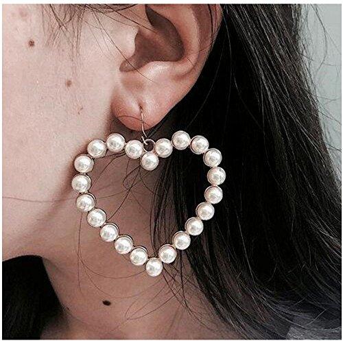 MINGHUA Alloy Pearl Earrings Fashionable Heart Earrings Long Love Earrings