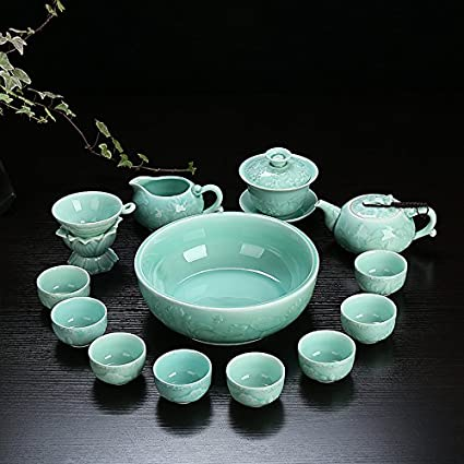 CUPWENH El Conjunto Completo De Kung Fu Juego De Té De Cerámica Celadón Zhenchang Longquan Bowl
