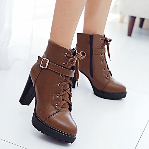 Latasa Womens Fashion Platform Block High Heels Ankle Oxford Boots Brown wFr8d