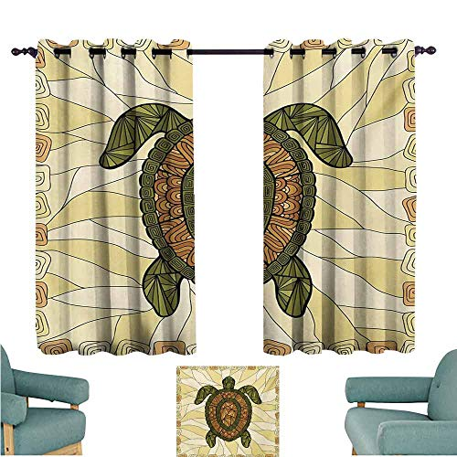 (DONEECKL Sliding Curtains Turtle Stylized Turtle Zentangle on Yellow Background Spiral Forms Bohemian Artwork Tie Up Window Drapes Living Room W55 xL45 Yellow Green Brown)
