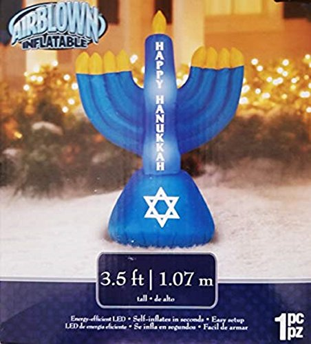 3.5 ft Inflatable Menorah Happy Hanukkah Holiday Indoor Outdoor Yard art Airblown ()