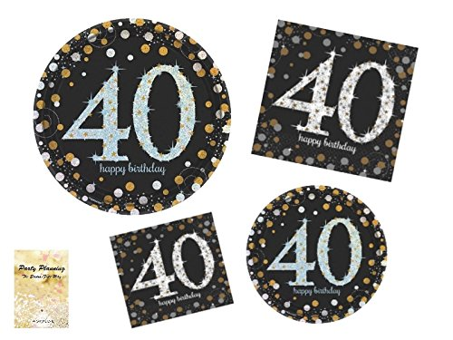 40th Birthday Party Supplies, Black And Gold Sparkling
