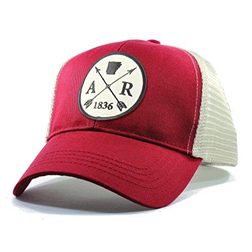 Homeland Tees Men's Arkansas Arrow Patch Trucker Hat - Red (Springs Day Christmas Eureka)