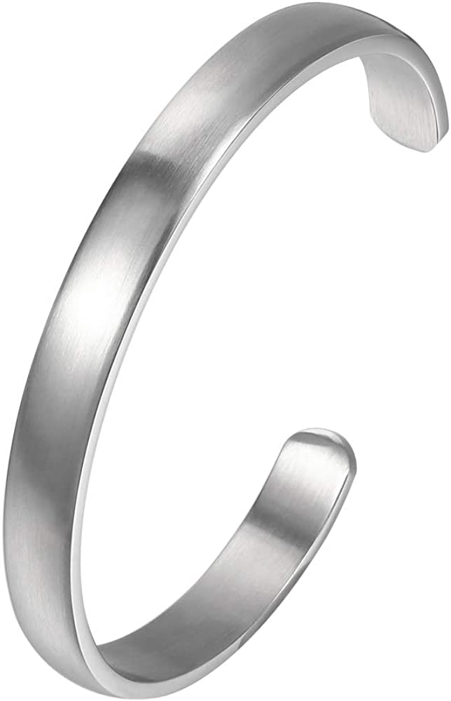 MANZHEN Womens Mens Stainless Steel Brecelet Plain Polished Finish Cuff Bangle Customize Name Text