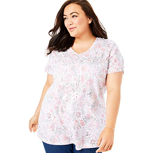 (Woman Within Women's Plus Size Perfect Printed V-Neck Tee - White Stitch Floral,)