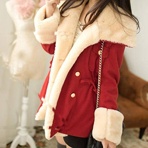 de para Moda de de de Mujer Mezcla de Cruzada de Abrigo Invierno Lana Chaqueta Mujeres Rojo Trenca de Trenca Las KaloryWee gzwUXx