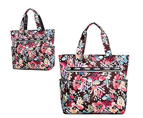 Ibeliver Nylon Large Lightweight Tote Bag Shoulder Bag for Gym Hiking Picnic Travel Beach Waterproof Tote Bags (Gorgeous FLower) by Ibeliver (Image #1)
