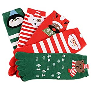 Stillshine Cinco Dedos Calcetines de Navidad, Childrens Baby Boy o niña y Adultos Cosy Cotton Socks Value Pack para niño pequeño (Niños (7-12 años))