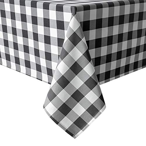 Black And White Checkered Tablecloth (Homedocr 60 x 120 Inch Checkered Tablecloth Rectangle - Stain Resistant, Spillproof and Wahable Gingham Table Cloth for Outdoor Picnic, Kitchen and Holiday Dinner, Black and)