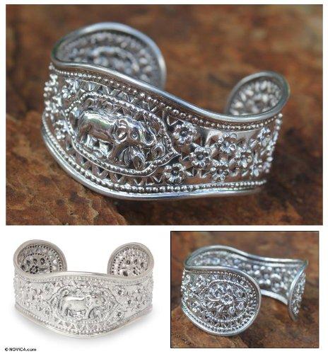 NOVICA .925 Sterling Silver Cuff Bracelet 'Precious She-Elephant' by NOVICA (Image #1)