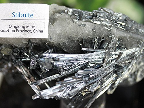 【天然石の島田商事】鈍色の光!中国貴州省チンロン鉱山産 5A 天然スティブナイト原石(アンチモナイト 輝安鉱 Stibnite Antimonite) 約409g 1個/ac-03039   B077GL9N1B