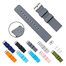 CIVO Quick Release Silicone Watch Bands Soft Rubber Watch Strap Smart Watch Band Stainless Steel Buckle 18mm 20mm 22mm (Smoke Grey, 22mm)