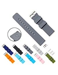 CIVO Quick Release Silicone Watch Bands Soft Rubber Watch Strap Smart Watch Band Stainless Steel Buckle 18mm 20mm 22mm (Smoke Grey, 20mm)