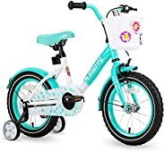 JOYSTAR Starry Kids Bike for Ages 3-9 Years Girls with Hand Brake and Basket, 14 16 18 Inch Princess Bikes Bic