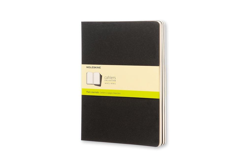 Moleskine Cahier Journal (Set of 3), Extra Large, Plain, Black, Soft Cover (7.5 x 10)