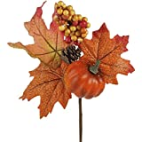 Factory Direct Craft Group of 6 Colorful Fall Leaf and Pumpkin Floral Embellishing Picks